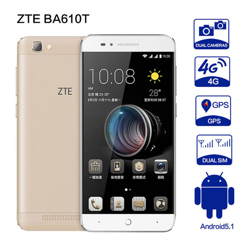Original ZTE BA610T Android5.1 MTK6735P Quad Core Telefone 2G RAM 8G ROM 8.0MP 4000 mAh Dual SIM 8MP OTG telefone A1 A2 BA601 C880U