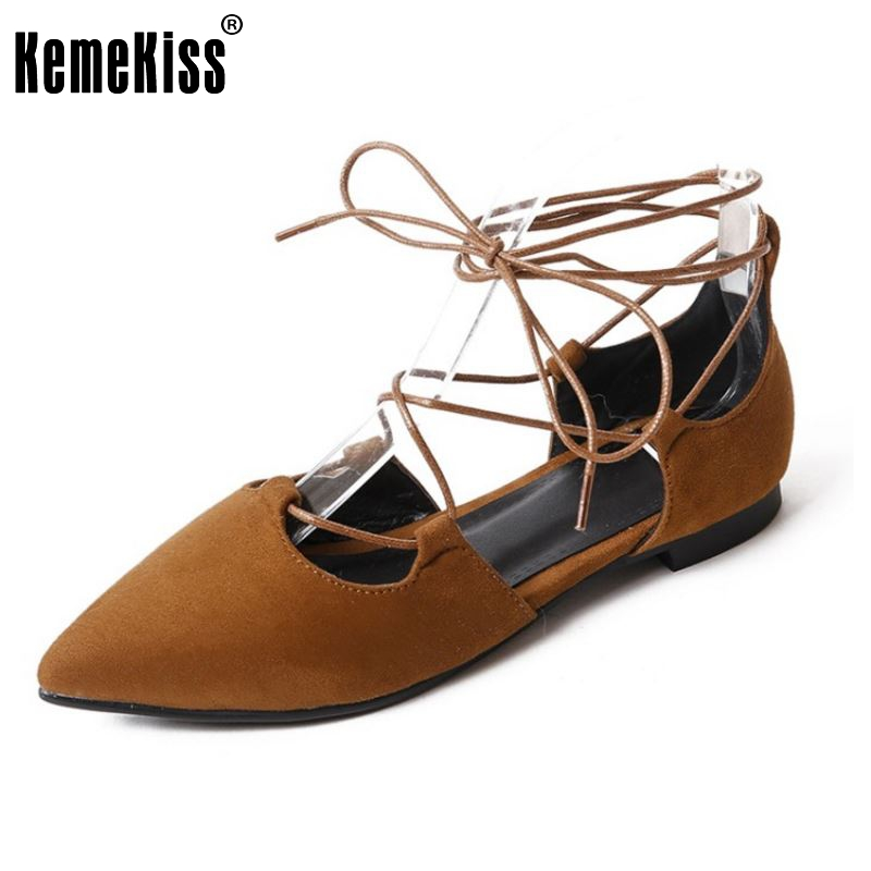 KemeKiss Size 33-43 Ladies Flats Shoes Women Cross Strap Pointed Toe Shoes Solid Color Ballet Vintage Party Female Footwear spring autumn solid metal decoration flats shoes fashion women flock pointed toe buckle strap ballet flats size 35 40 k257