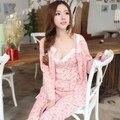 2016 Spring New Three-Pieces Pajama Sets Women Sexy V-Neck Sleepwear Imitation Full Sleeve Pijamas woman