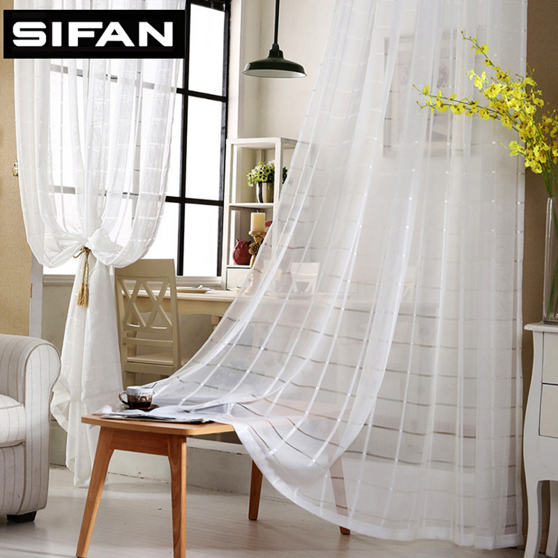 Ikea Window Treatments Modern White Plaid Embroidered Voile Curtains For Living