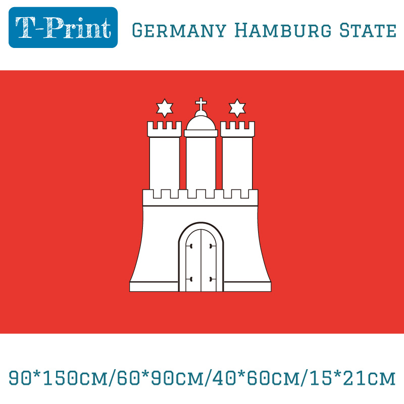 Free shipping 90*150cm/60*90cm/40*60cm/15*21cm Germany Hamburg State FLAG