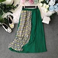 2019 new fashion women's skirts Summer contrast stitching plaid skirt long pleated skirt
