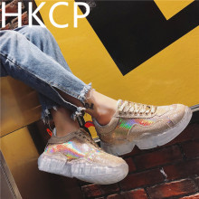 HKCP sneakersuper hot 2019 spring and autumn new Korean edition versatile crystal dazzle color platform shoes C032