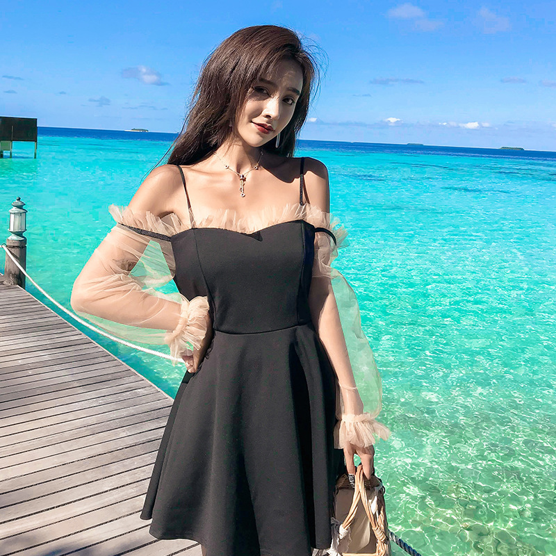 Swimsuit Woman 2019 Separate Push Up For Women Bikini Japanese Korean Black Long Sleeve Dresses Solid Spandex FMZXG