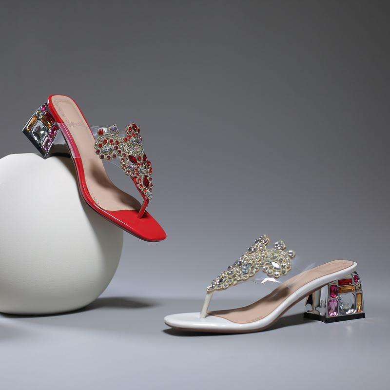 MORAZORA 2019 new genuine leather women slippers rhinestone square high heels Crystal summer shoes flip flops ladies shoes