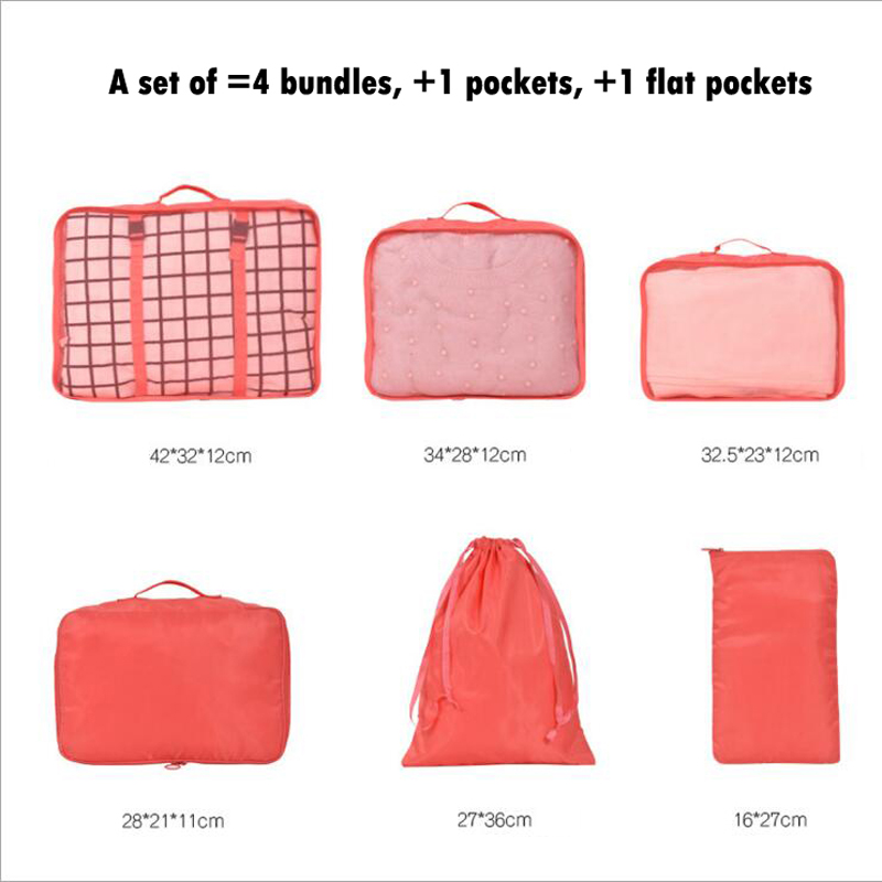 High Quality 6 Pieces Nylon Packing Cube Travel Bag One Set Luggage Storage Portable Durable Unisex Clothes Sorting Organize Bag