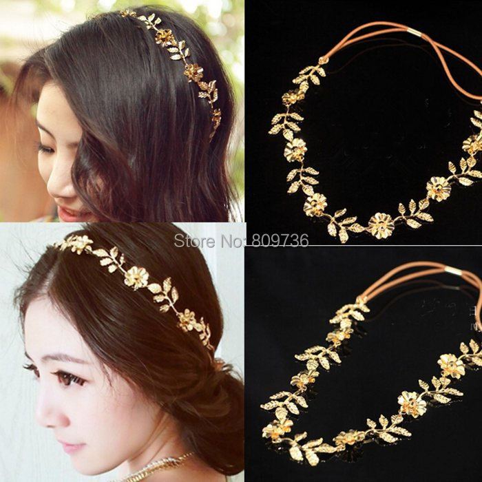 1PC Fashion Metallic Women bridal hair accessories Lady Elastic Flower Leaf Hair Band Headband Head Chain Party Jewelry