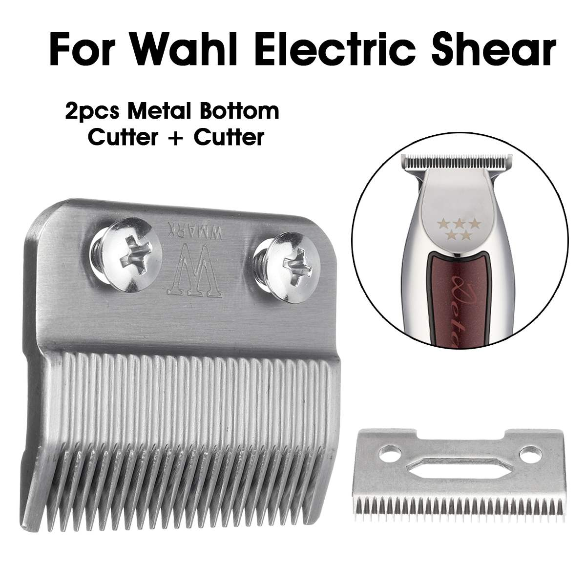 2pcs Sliver 2 Hole Clipper Blade Cutter Metal Bottom Cutter For Wahl Electric Shear Hair Clipper Trimmers For Barber Home Use