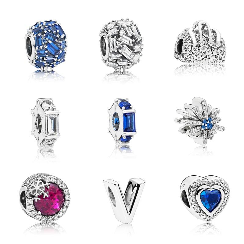 Calvas Authentic 925 Sterling Silver Openwork Flowers Heart Red Blue CZ Charm Bead Fit Brand Bracelet Women Jewelry Color: Blue