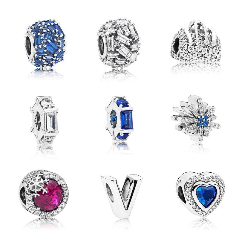 925 пробы серебро Снежинка Сердце Бусины Подходят оригинальный Пандора браслет серебро 925 Мода для женщин ювелирных изделий