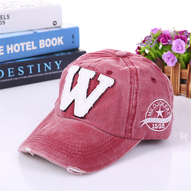 cf22778c Cotton Embroidery Letter W Baseball Cap Snapback Caps Bone casquette Hat  Distressed Wearing Fitted Hat For Men Custom Hats