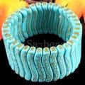 "Free Shipping Fashion Jewelry Blue Turquoise Bead Stretch Turquoise Bracelet 8"" 1Pcs H001"