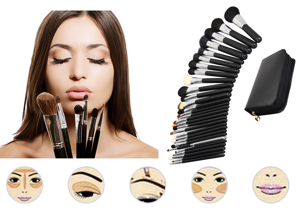 29pcs Professional Foundation Eye Shadow Kit Makeup Brush Set Brush Eyebrow Women Cosmetic Tool With Black Leather Case1 six black eye makeup brush brush eye shadow brush black beauty makeup tools