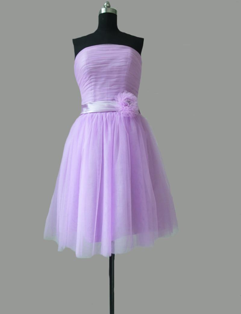 Lila cortos vestidos dama 2016 sin tirantes Sash Floral barato del ...