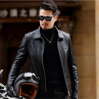 2017 Spring And Autumn New Men S Jacket Business Casual Motorcycle Leather Men S Senior Sheep