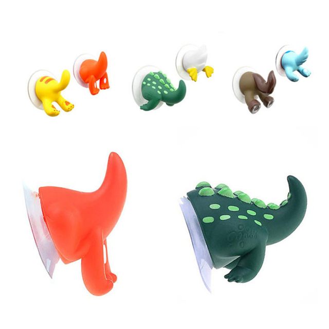6Pcs/set Cute Cartoon Animal Tail Strong Sucker Suction Hook Baby Bathroom Key Towel Hanger Holder Hooks Home Kitchen Accessorie 5