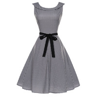 Women Vintage Plaid Casual Party Dress 2018 New Spring Summer Rockabilly Dress Retro Vintage 50s 60s