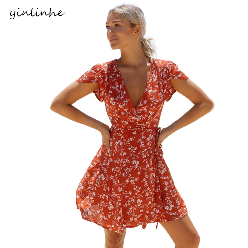 be1d54702f1a8 yinlinhe Red Floral Summer Dress Short Sleeve Beach/ Wrap Dresses V neck  Women Dress Mini sexy Slim bohomian Vestido 074-in Dresses from Women's  Clothing on ...