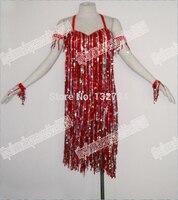 Ostrich Feather Latin Dance Dress Waltz Tango Ballroom Dance Dress Girls Women Modern Dance Perform Costume