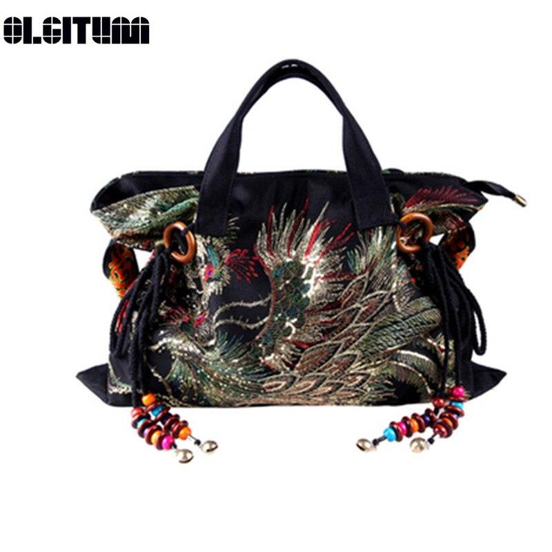 OLGITUM New 2018 Single Messenger Bag Fashion Leisure Bag Cross Body Bag Canvas Embroidered Women Bag HB080
