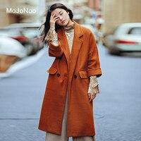 MOJONOO 2017 Winter Camel Wool Coat Women Brown Europe Autumn Long Woolen Coat Jackets Overcoat Good