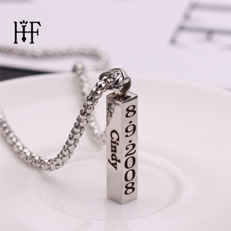 Engraved Calendar Name Necklace Personalised Gift Strip Pendant Stainless Steel Unisex Fashion Necklaces & Pendants