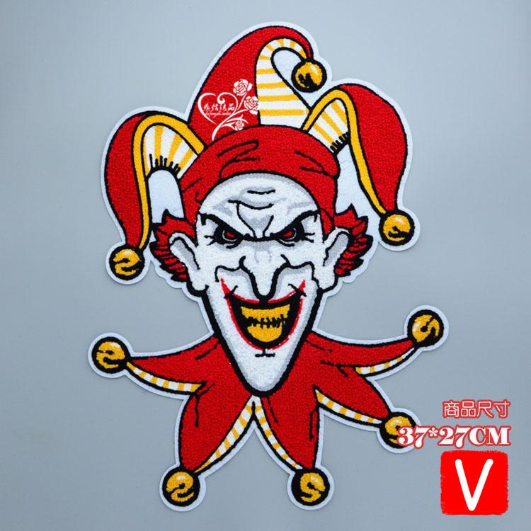 embroidery chenille big clown patches for jackets,towel cartoon badges applique sweater,patches clothing A663