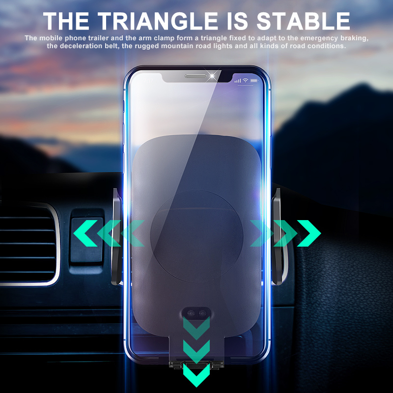 Car Mount Qi Wireless Charger  C9 Type For iPhone XS Max X XR 7.5W Fast Wireless Charging Car Phone Holder For Samsung Note 9 S9