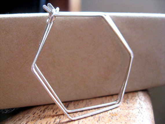 PINJEAS Hexagon Hoops Ohrringe Handmade Sterling Silber/Rose Gold ...