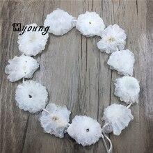 Белые хрустальные бусины в форме цветка, бусины из кристаллов кварца, бусины из прозрачного кварца, бусины из кристаллов друзы для ювелирных изделий DIY MY1006
