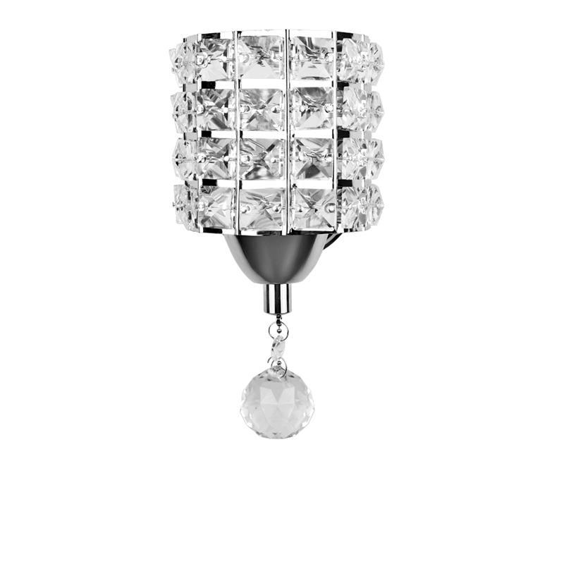 Modern Style Wall Lamp Cylinder Crystal Wall Light Holder With Pendant And Pull Switch AC 85-250V E14 Socket (No Bulb Included)