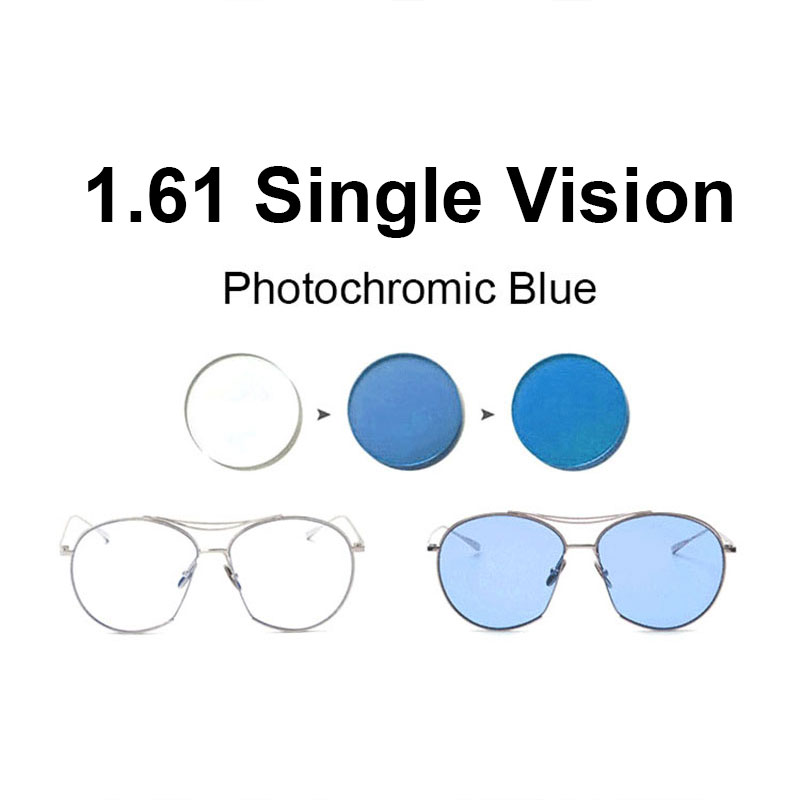 1.61 Photochromic Pink Or Blue Or Purple Single Vision Lens SPH Range -8.00~+6.00 Max CLY -6.00 Optical Lenses For Eyewear