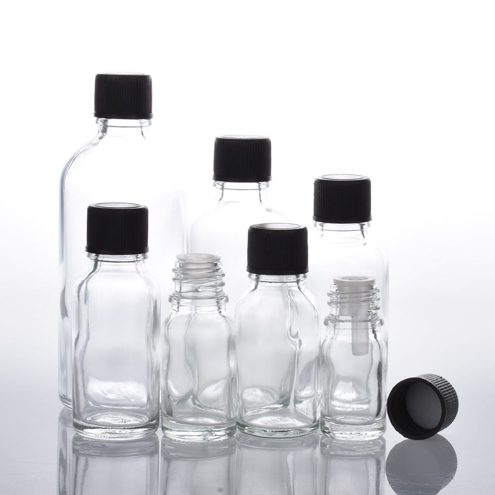 6pcs/lot 100ml 50m 30ml 20ml 15ml 10ml 5ml 1/3oz 1oz Empty Clear Essential Oil Glass Bottles With Black Cap Glass Containers
