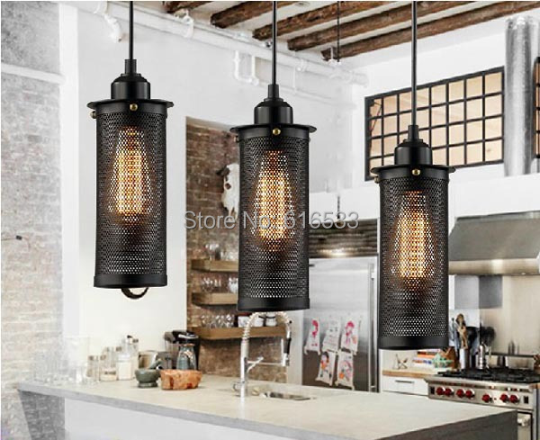 Vintage loft industrial americano hollow out grid lustre for Lampara industrial cocina