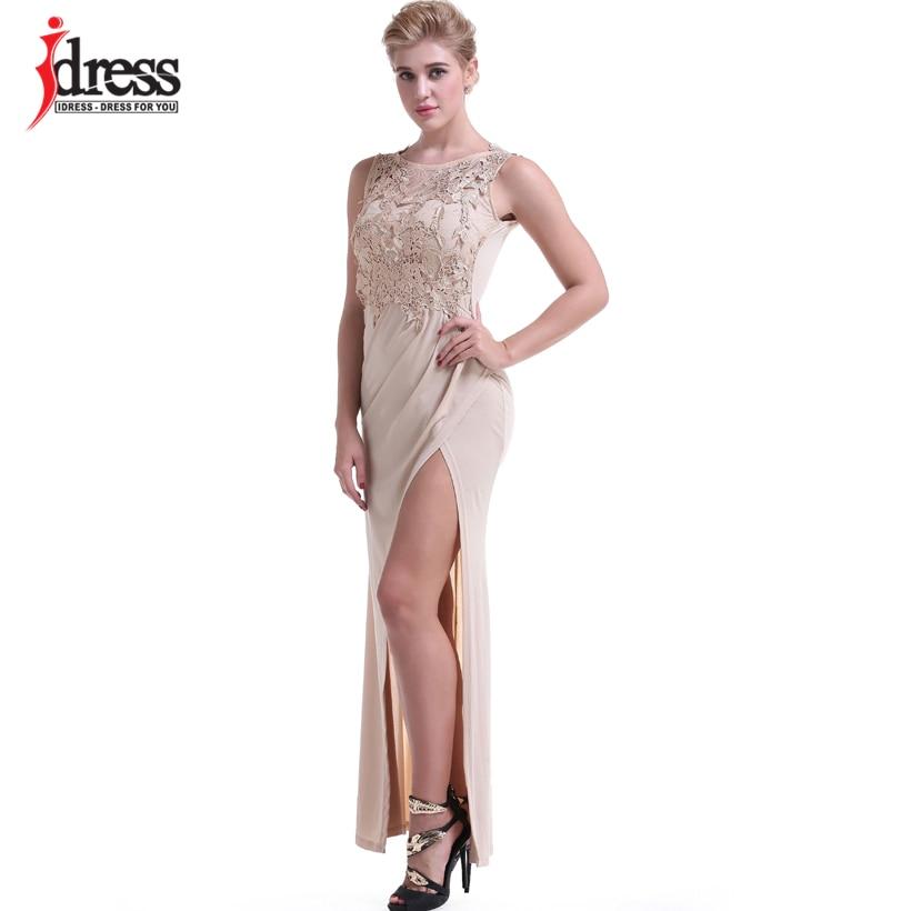 IDress Women Clothing Fashion 2017 Vestido Sexy Bodycon Summer Evening Long Dress O Neck Floor Length High Slit Black Maxi Dress (5)