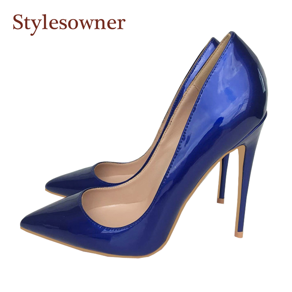 Stylesowner Shiny blue women single shoes shallow mouth patent leather <font><b>sexy</b></font> <font><b>12cm</b></font> thin <font><b>heel</b></font> party shoe 33-44 bridal zapatos mujer image