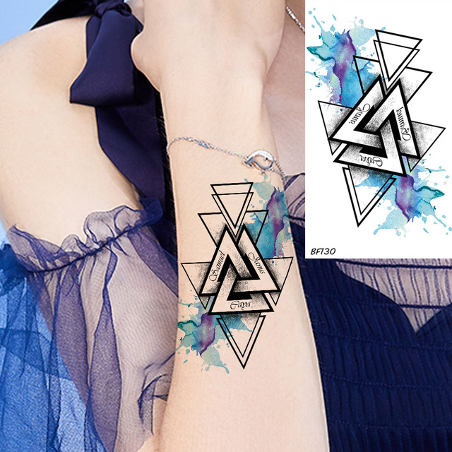 VANKIRS Blue Water Color Triangle Totem Armband Temporary Tattoos ...