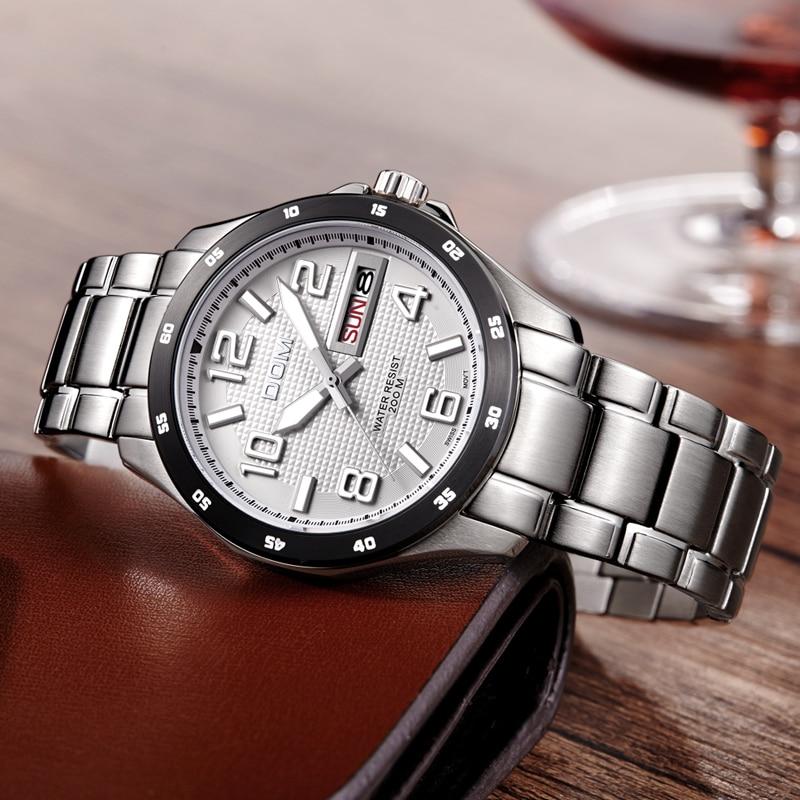 Mens Watches Top Brand Luxury Sport Quartz-Watch DOM M-132 Leather Strap Clock Waterproof Wristwatch relogio masculino