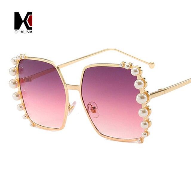 SHAUNA perla veneciana decoración mujeres cuadrados gafas de sol marca  diseñador Gradient Shades UV400 a341183c47