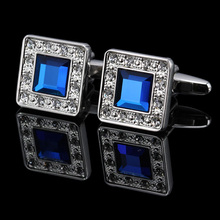 MMS Hot sale Brand New Trendy Rare Exquisite Cuff Links Blue Gem Gift Wedding Groom Party Shirt Cuff Links Wholesale