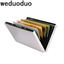 купить Weduoduo Stainless Steel Credit Card Holder Men Slim Anti Protect Travel ID Cardholder Women Rfid Wallet Metal Case Porte Carte дешево