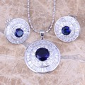 Prominent Blue Created Sapphire White CZ 925 Sterling Silver  Earrings Pendant Necklace  Jewelry Sets S0778