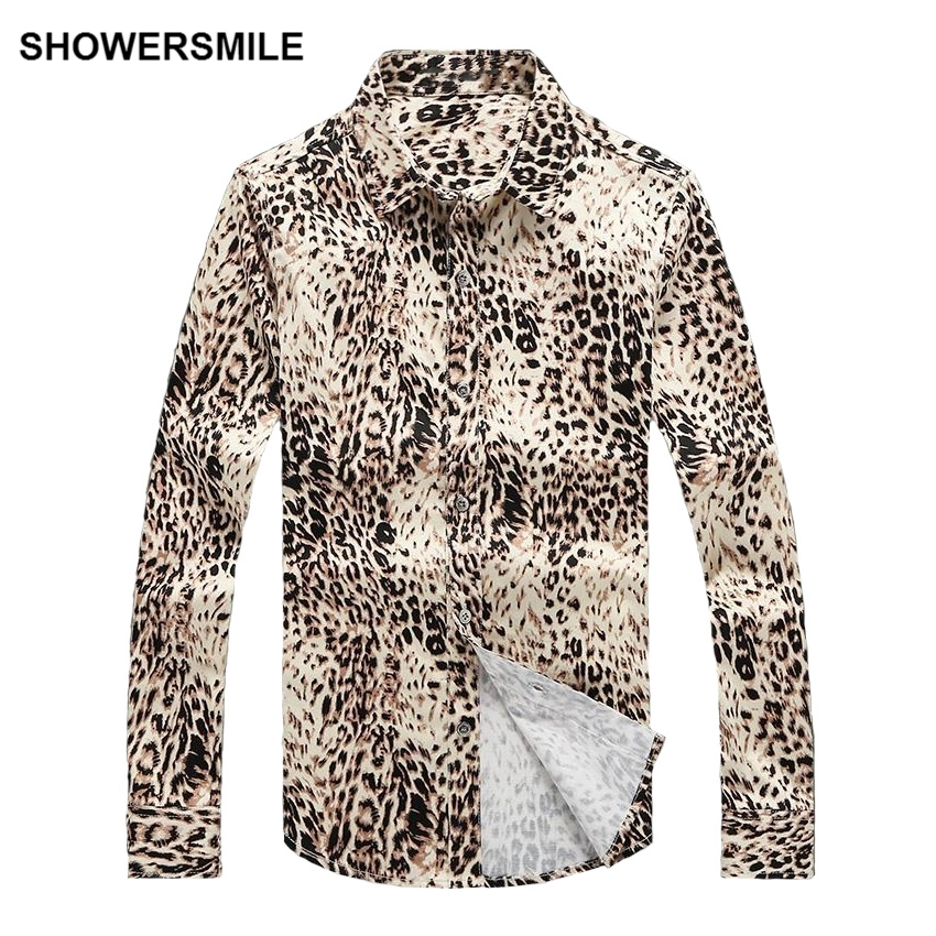 SHOWERSMILE Leopard Print Mens Shirt Plus Size 5xl Cotton Casual Full Sleeve Shirt Mens European Style Clothing New Model Shirts
