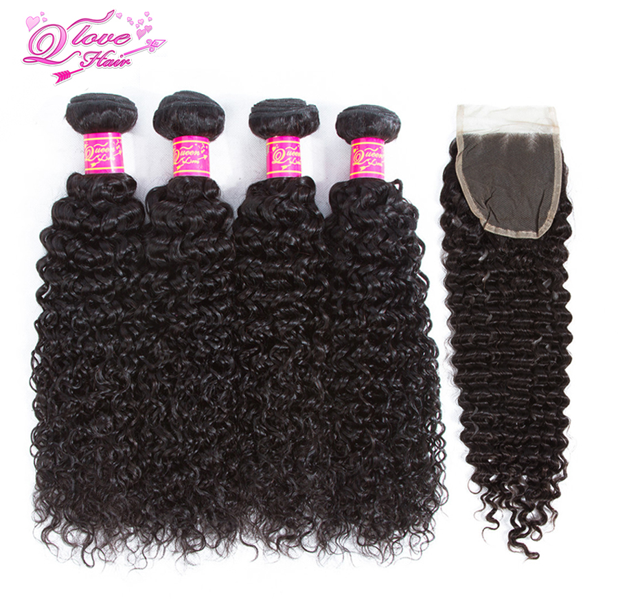 Queen Love Hair 4 Bundles With Closure Peruvian Hair Kinky Curly 100% Human Natural Color Bundles Non-Remy Hair Extensions