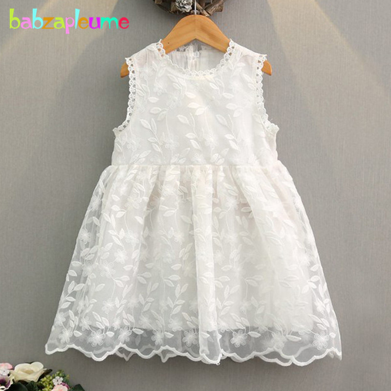 babzapleume Summer Baby Girls Lace Princess Dress Sleeveless White Red Toddler Dresses For Kids Clothes Children Clothing BC1273 2016 spring winter children baby kids girls stripe princess lace mesh dress girls fall sleeveless dresses kids dresses for girls