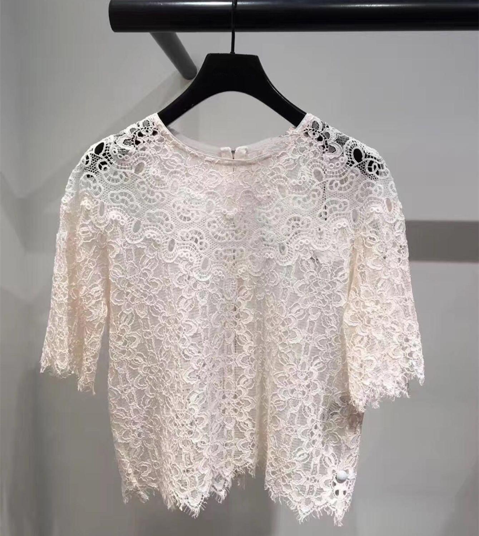 Новинка 2019 летние женские кружевные рубашки шикарные элегантные открытые рубашки с короткими рукавами Топы A274