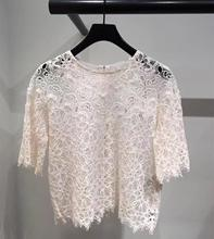 New 2019 summer womens lace Shirts Chic elegant hollow-out short sleeves Shirt Tops  A274