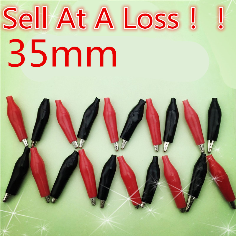 20pcs 35MM Metal Alligator Clip G99 Crocodile Electrical Clamp  Testing Probe Meter Black And Red Plastic Boot  Sell At A Loss
