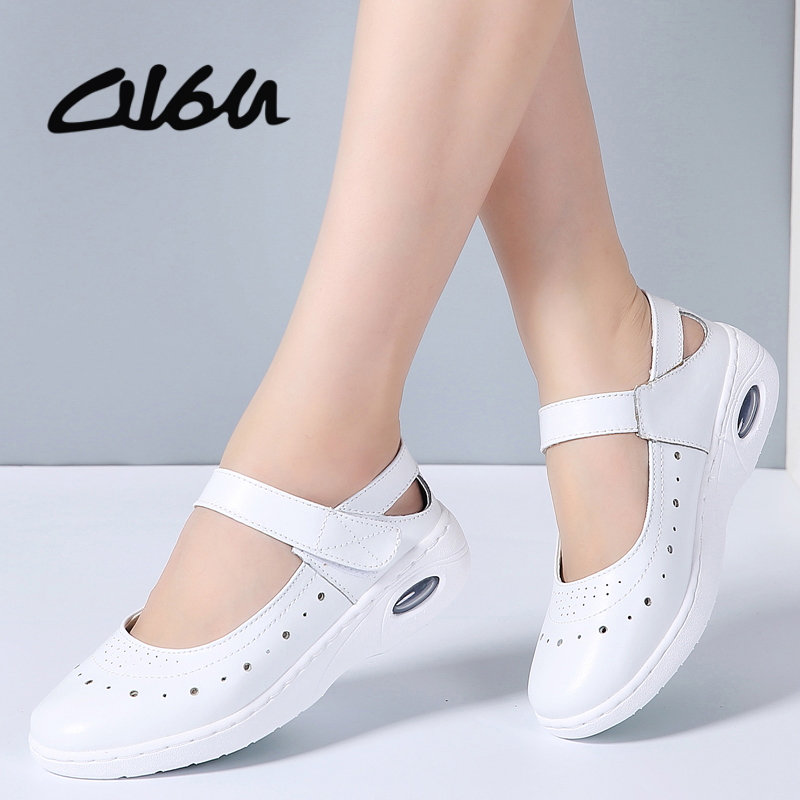 O16U Women Mary Janes Flats Shoes Genuine Leather Round Toe Non-slip Rubber Ballet Flats Career Nurse White Flat Shoes SummerO16U Women Mary Janes Flats Shoes Genuine Leather Round Toe Non-slip Rubber Ballet Flats Career Nurse White Flat Shoes Summer