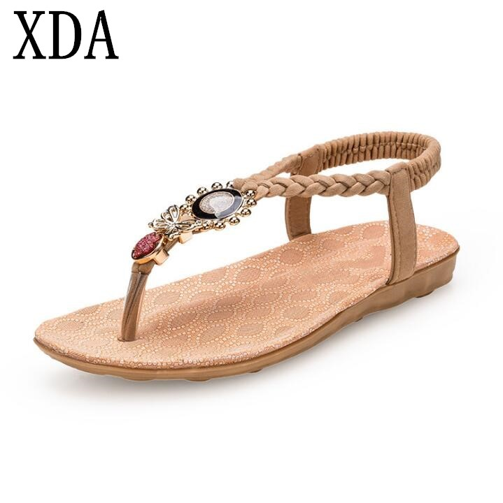 XDA 2018 new Women Sandals Flats Sandals Gladiator Sandals Women Summer Beach beads Shoes Rome Sandals free shipping F123 cootelili real fur ankle strap gladiator sandals women flats 2017 summer tassel shoes ladies wedding beach sandals bohemian